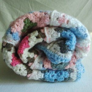 Crochet Granny Square Hand pieced Baby/Lap Quilt
